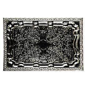 Bandeja de Prata Retangular Marroquina 40x30cm