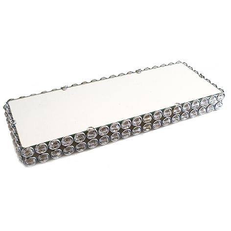 Porta Doce Retangular Bolinha Cristal Espelhado 51x19cm