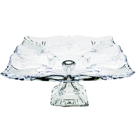 Porta Bolo de Cristal Quadrado Flor 30x30x15