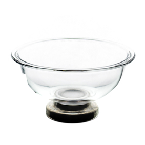 Saladeira de Vidro Redonda Funda Pé Inox 320ml