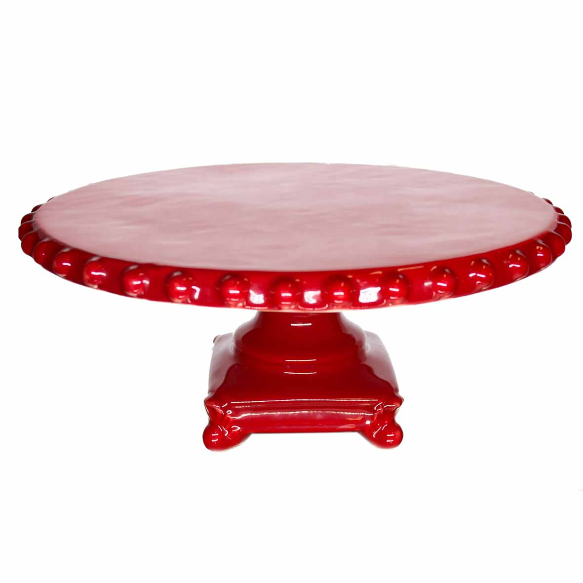 Porta Bolo Cerâmica Vermelho 38x18