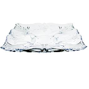 Prato de Cristal Quadrado Flor 30x30x4