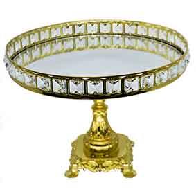 Porta Doce Dourado com Pedras com Pé 35cm