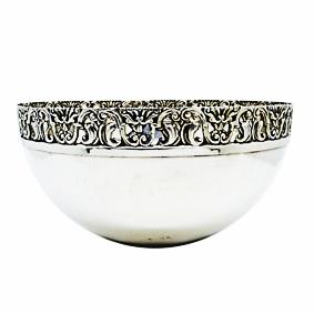 Bowl de Prata c/Borda Rendada s/Pé 27cm
