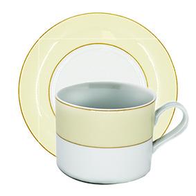 Xícara de Chá Borda Bege com pires 150ml