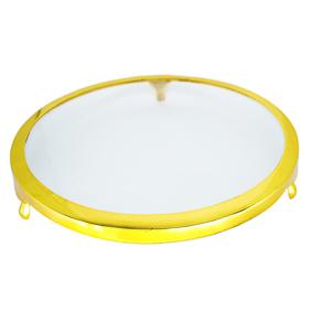 Porta Doce de Vidro Borda Dourada 3 Pés 40cm