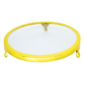 Porta Doce de Vidro Borda Dourada 3 Pés 30cm