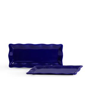 Travessa de Porcelana Retangular Ondulada Azul Marinho 37x17x2,5