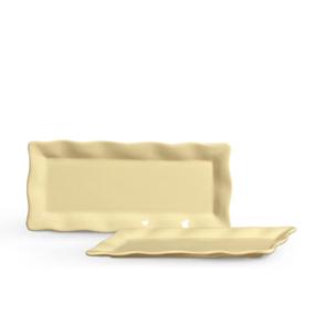 Travessa de Porcelana Retangular Ondulada Amarelo Claro 28x17x2