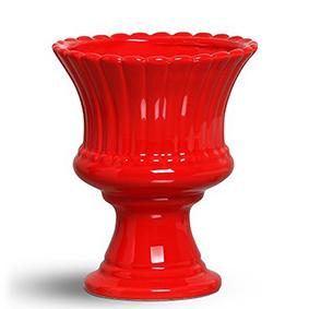 Fruteira de Porcelana Redonda Vermelha 20x17