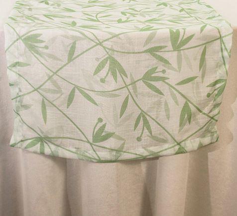Trilho Linho Folhas Verdes 380x60